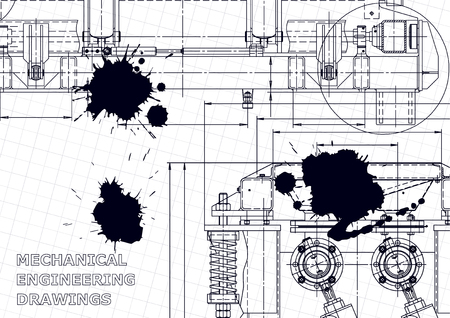 Technical abstract background. Vector drawing. Mechanical instrument making. Black Ink. Blots