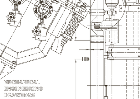 Illustrazione di ingegneria di vettore. Disegno di ingegneria meccanica. Disegni di fabbricazione di strumenti. Sistemi di progettazione assistita da computer. Illustrazioni tecniche Vettoriali