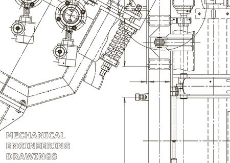 Ilustración de ingeniería vectorial. Dibujo de ingeniería mecánica. Dibujos de fabricación de instrumentos. Sistemas de diseño asistido por computadora. Ilustraciones técnicas Ilustración de vector