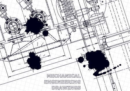 Sketch. Vector engineering illustration. Computer aided design systems. Instrument-making drawings. Black Ink. Blots. Technical illustrations, background