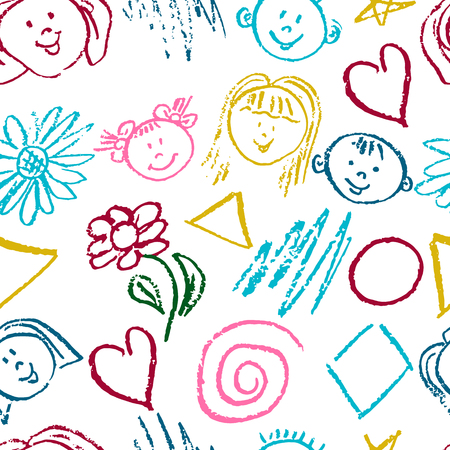 Seamless pattern. Draw pictures, doodle. Beautiful and bright design. Interesting images for backgrounds, textiles, tapestries. Flowers, faces, geometric shapes Illustration