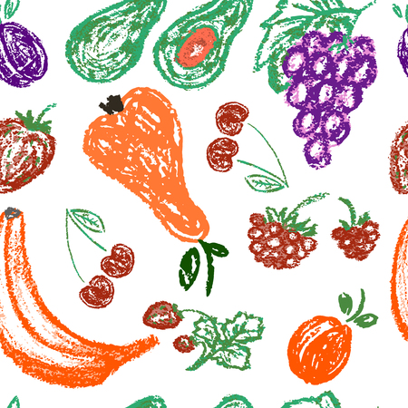 Cute stylish seamless pattern. Draw pictures, doodle. Beautiful and bright design. Interesting images for backgrounds, textiles, tapestries. Fruits and berries
