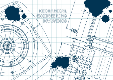 Blueprint, Sketch. Vector engineering illustration. Cover, flyer, banner, background. Instrument-making drawings. Blue Ink. Blots