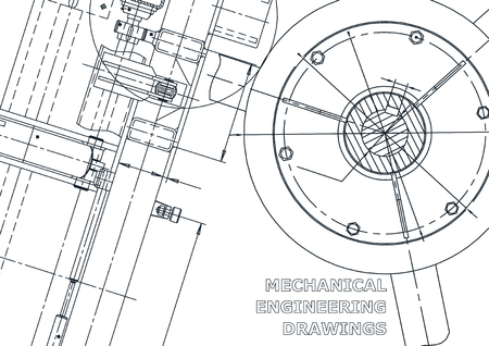 Cover, flyer, banner. Vector engineering illustration. Blueprint, background. Instrument-making drawings. Mechanical drawing