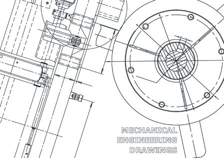 Portada, volante, pancarta. Ilustración de ingeniería vectorial. Plano, fondo. Dibujos de fabricación de instrumentos. Dibujo mecánico