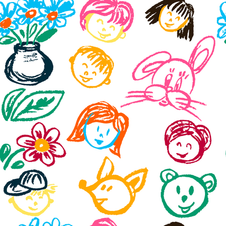 Seamless pattern. Draw pictures, doodle. Beautiful and bright design. Interesting images for backgrounds, textiles, tapestries. Faces flowers Vektorové ilustrace
