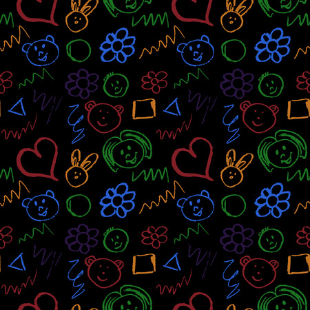 Cute stylish seamless pattern. Draw pictures, doodle. Beautiful and bright design. Interesting images for backgrounds, textiles, tapestries. Faces, scrawl