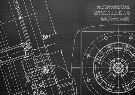 Blueprint. Vector drawing. Mechanical instrument making. Black background. Points