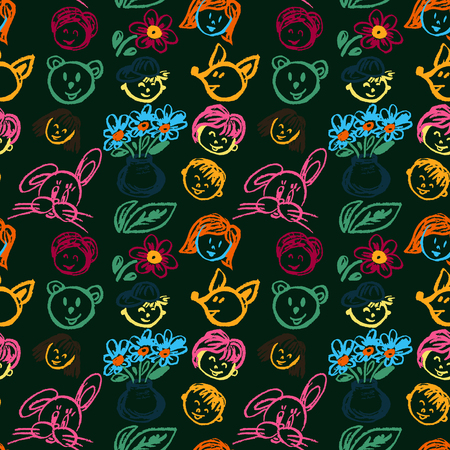 Cute stylish seamless pattern. Draw pictures, doodle. Beautiful and bright design. Interesting images for backgrounds, textiles, tapestries. Faces, flowers leaves Illustration