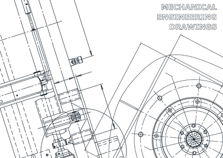 Cover. Vector engineering drawings. Mechanical instrument making. Technical background