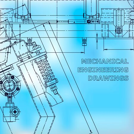 Blueprint, scheme, plan, sketch. Technical illustrations, backgrounds. Machine-building industry. Instrument-making drawing. Blue