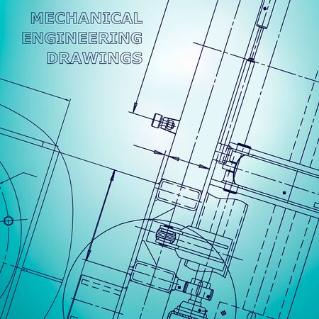 Blueprint. Light blue engineering illustration. Cover, flyer, banner. Corporate Identity
