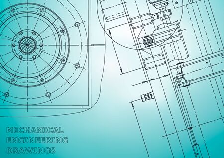 Blauwdruk, schets. Vector technische illustratie. Dekking, flyer, banner, achtergrond. Instrumentmakende tekeningen. Mechanisch. Lichtblauw