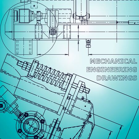 Blueprint, scheme, plan, sketch. Technical illustrations, background Machine industry Corporate Identity Light blue Stock Illustratie