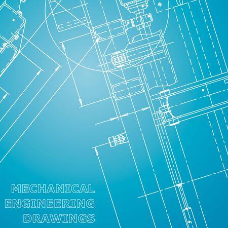 Entwurf. Vektor-Engineering-Illustration. Computergestützte Konstruktionssysteme. Zeichnungen des Instrumentenbaus. Blau und weiß. Unternehmensidentität