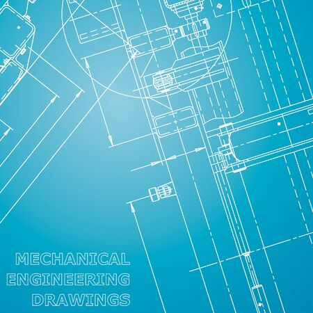 Plano. Ilustración de ingeniería vectorial. Sistemas de diseño asistido por computadora. Dibujos de fabricación de instrumentos. Azul y blanco. Identidad corporativa