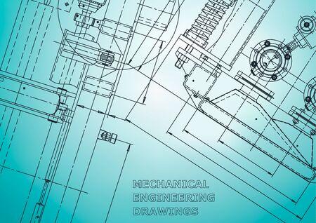 Blauwdruk. Vector technische illustratie. Computerondersteunde ontwerpsystemen. Instrumentmakende tekeningen. Lichtblauw