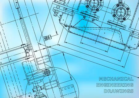 Blauwdruk. Vector technische tekeningen. Mechanische instrumenten maken. Technische abstracte achtergronden. Technisch. Blauw
