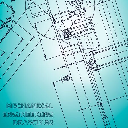 Blueprint. Vector engineering illustration. Computer aided design systems. Instrument-making drawings. Light blue. Corporate Identity Vetores