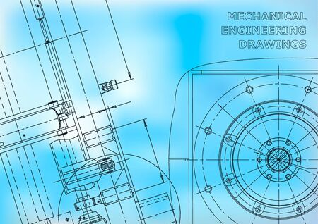 Blueprint. Vector drawing. Mechanical instrument making. Blue