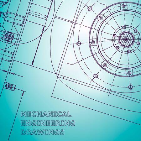 Plano. Ilustración de ingeniería vectorial. Fondo azul claro. Dibujos de fabricación de instrumentos. Mecánico. Identidad corporativa Ilustración de vector