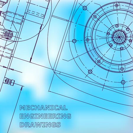 Blueprint. Vector engineering illustration. Blue background. Instrument-making drawings. Mechanical. Corporate Identity