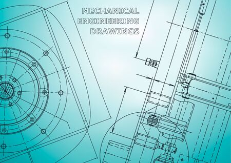 Blueprint, Sketch. Vector engineering illustration. Cover. Light blue