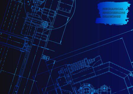 Sketch. Vector engineering illustration. Cover, flyer, banner. Instrument-making. Blue neon