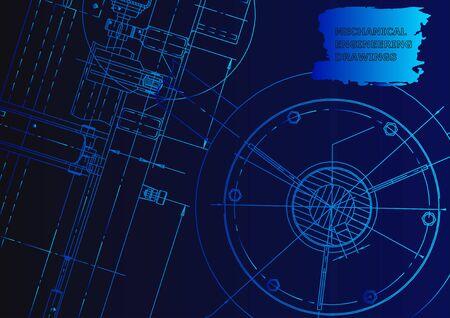 Cover, flyer. Vector engineering illustration. Blueprint. Blue neon
