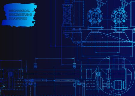Technical abstract backgrounds. Vector engineering drawing. Mechanical instrument making. Blue neon Ilustração