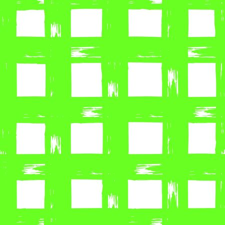 Striped seamless pattern. Abstract stripes. Hand drawing, brushes, blots. Modern textures. Original geometric background. Checkered background, squares. Green neon