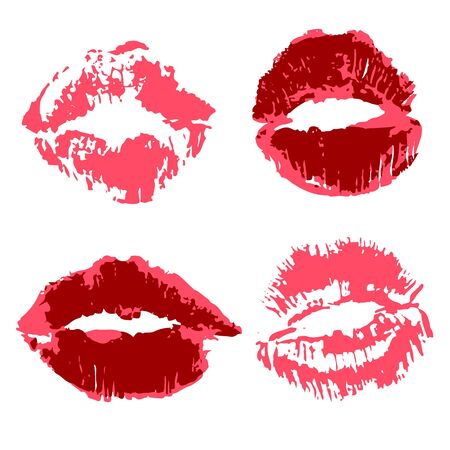 Vector set of illustrations. Lips, kisses. Collection of romantic elements for graphic design
