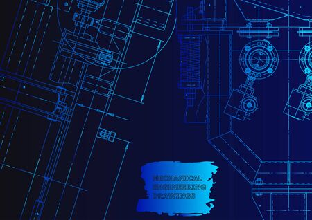 Vector engineering illustration. Blue neon. Mechanical engineering