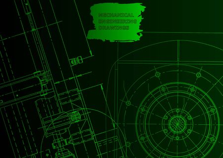 Cover. Vector engineering drawings. Mechanical instrument making. Green neon