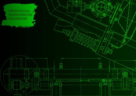 Mechanical instrument making. Technical illustration. Green neon