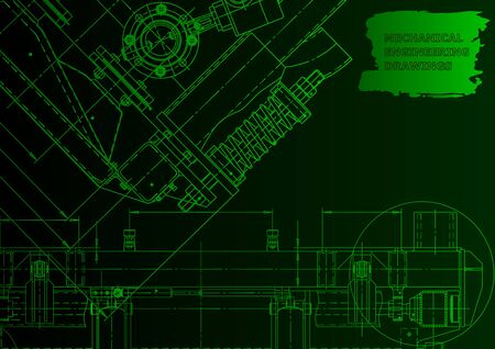 Machine-building industry. Computer aided design systems. Green neon. Instrument-making drawings Ilustração