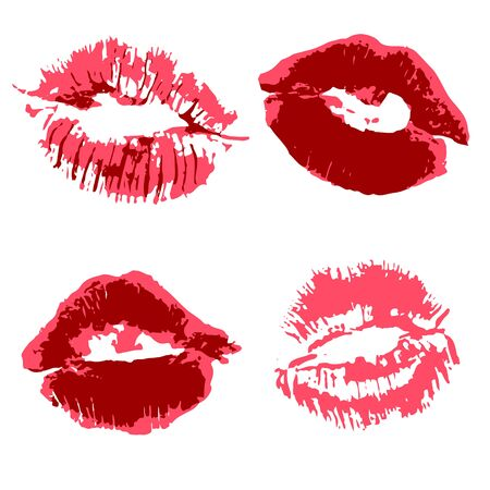 Vector set of illustrations. Lips, kisses, lipstick. Collection of romantic elements for graphic design. Love