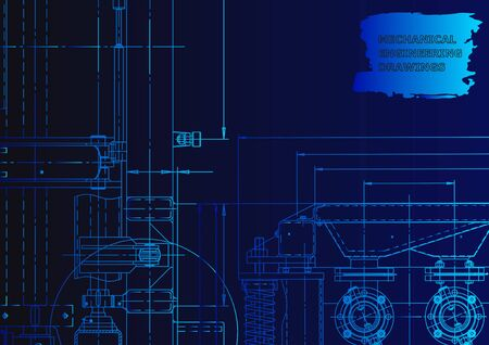 Technical abstract backgrounds. Mechanical instrument making. Technical illustration. Blueprint. Blue neon Ilustração