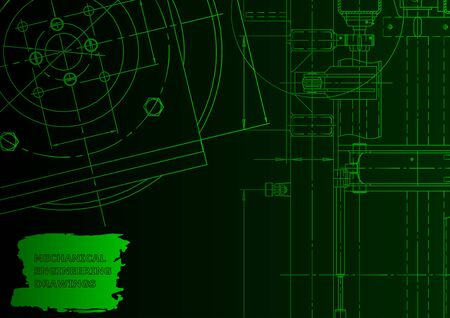 Vector engineering illustration. Computer aided design systems. Instrument-making drawings Green neon