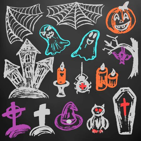 Halloween. A set of funny objects. Color chalk on a blackboard. Collection of festive elements. Autumn holidays. Pumpkin, spider web, ghosts, sinister castle, candle, owl, coffin, cemetery, tree, bat, spider