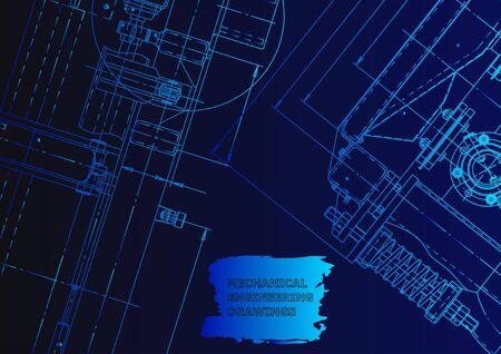 Vector illustration. Computer aided design system. Instrument-making. Blue neon Vetores