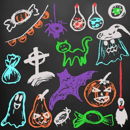 Halloween. A set of funny objects. Color chalk on a blackboard. Collection of festive elements. Autumn holidays. Pumpkin, ghost, spider, candy, eye, bat, broom, flags, potion, cat, cemetery