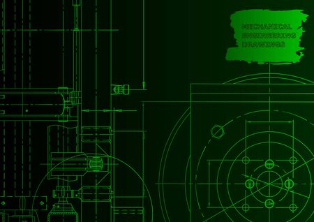 Mechanical instrument making. Technical abstract background. Green neon