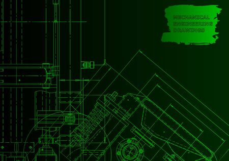 Technical abstract backgrounds. Mechanical instrument making. Technical. Green neon Ilustração