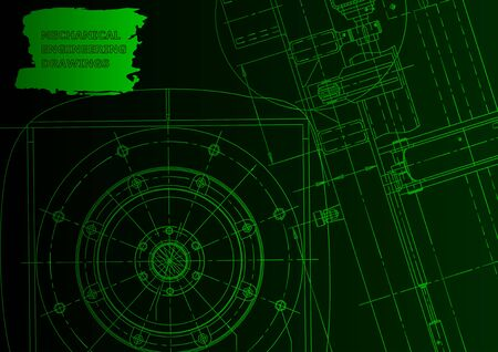Cover, flyer. Vector engineering illustration. Green neon. Mechanical engineering drawing
