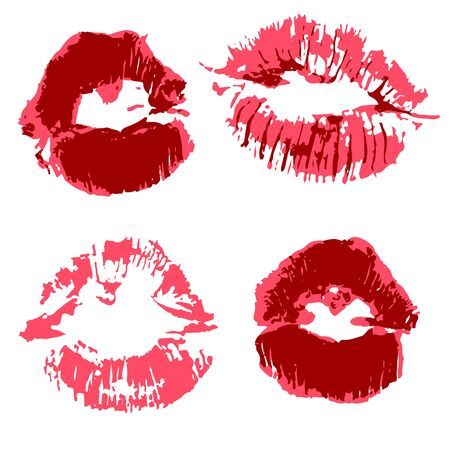 Vector set of illustrations. Lips, kisses. Collection of elements for graphic design