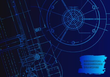 Vector banner. Engineering drawings. Mechanical instrument making. Technical Blue neon