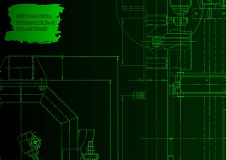 Mechanical engineering drawing. Machine-building. Computer aided design system. Green neon