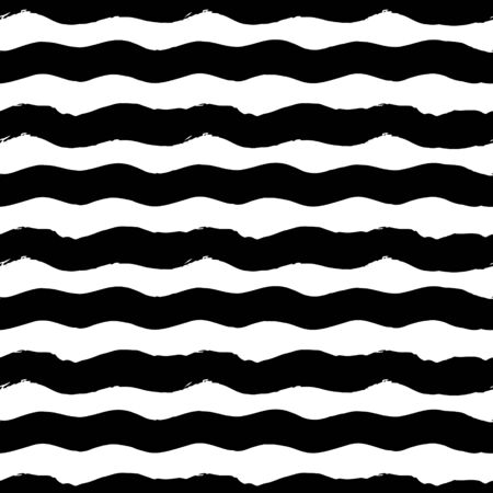 Striped seamless pattern. Abstract stripes. Hand drawing, brushes, blots. Modern textures. Original. Horizontal waves. Black and white drawing