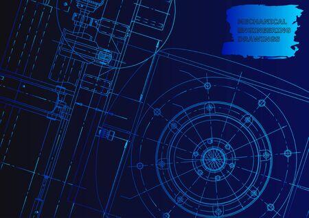 Cover. Vector engineering illustration. Blueprint, flyer, banner, Blue neon Vetores